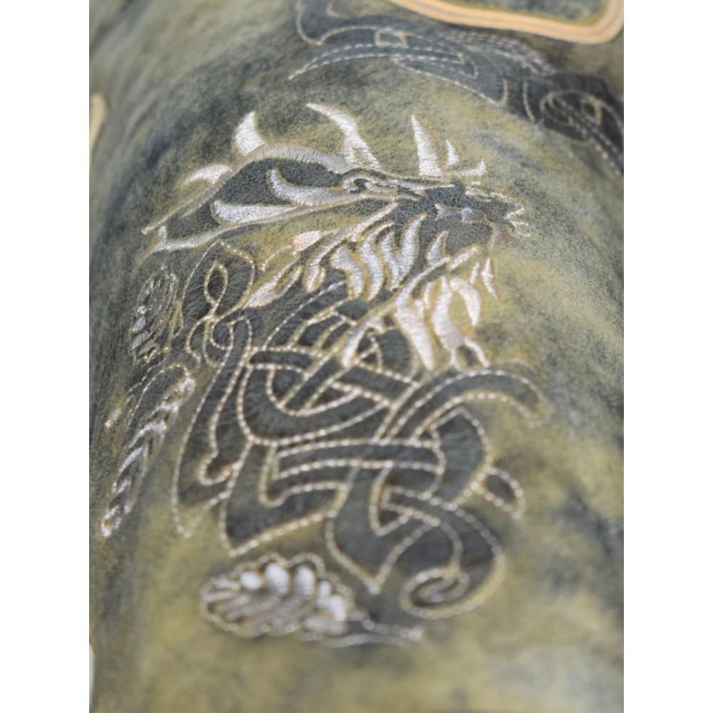 Kurze Herren Trachten Lederhose mit Gürtel, Olive Meliert, Wildbockleder, Antik