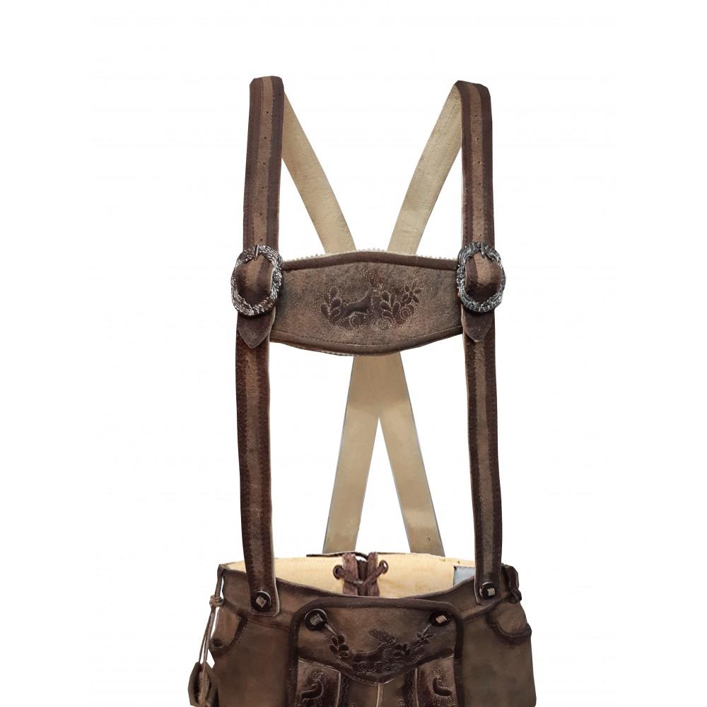 Herren Trachten Lederhose mit Träger, Cappuccino, Büffel Leder, Bull Spirit Kniebund