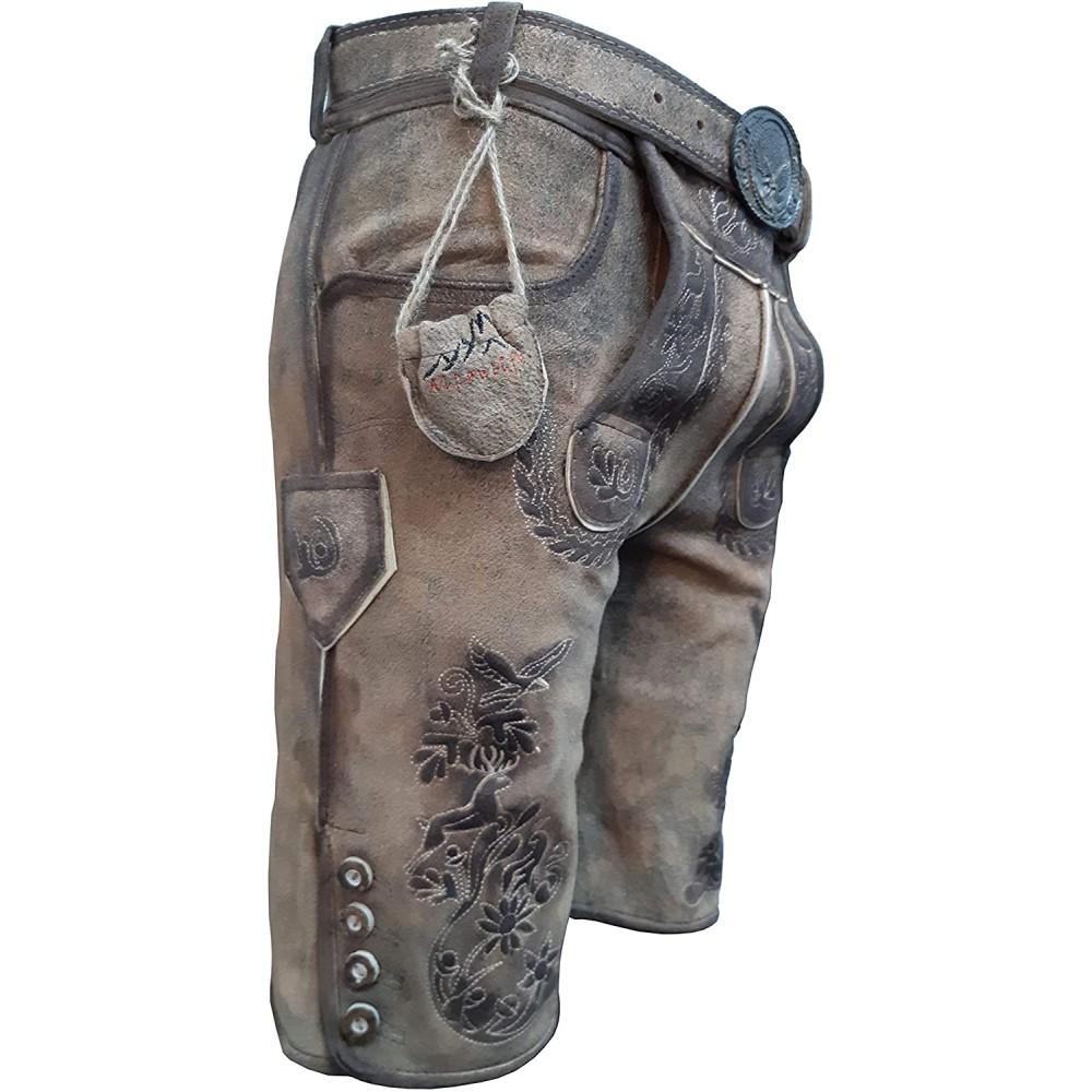 Kurze Herren Lederhose mit beidseitigen Messertaschen und Leder Gürtel, Cappuccino, Büffel Leder, Bull Spirit