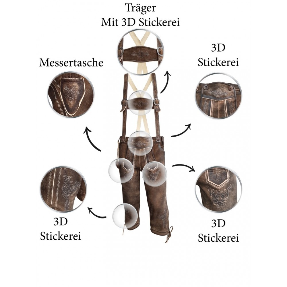 Herren Trachten Lederhose mit Träger, Dunkelbraun, Büffel Leder, Charisma Kniebund