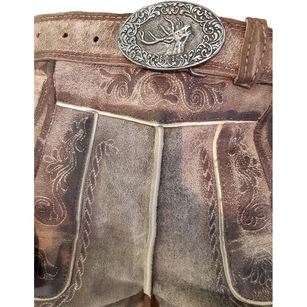 Kurze Herren Lederhose mit beidseitigen Messertaschen und Leder Gürtel, Braun, Büffel Leder, Empire