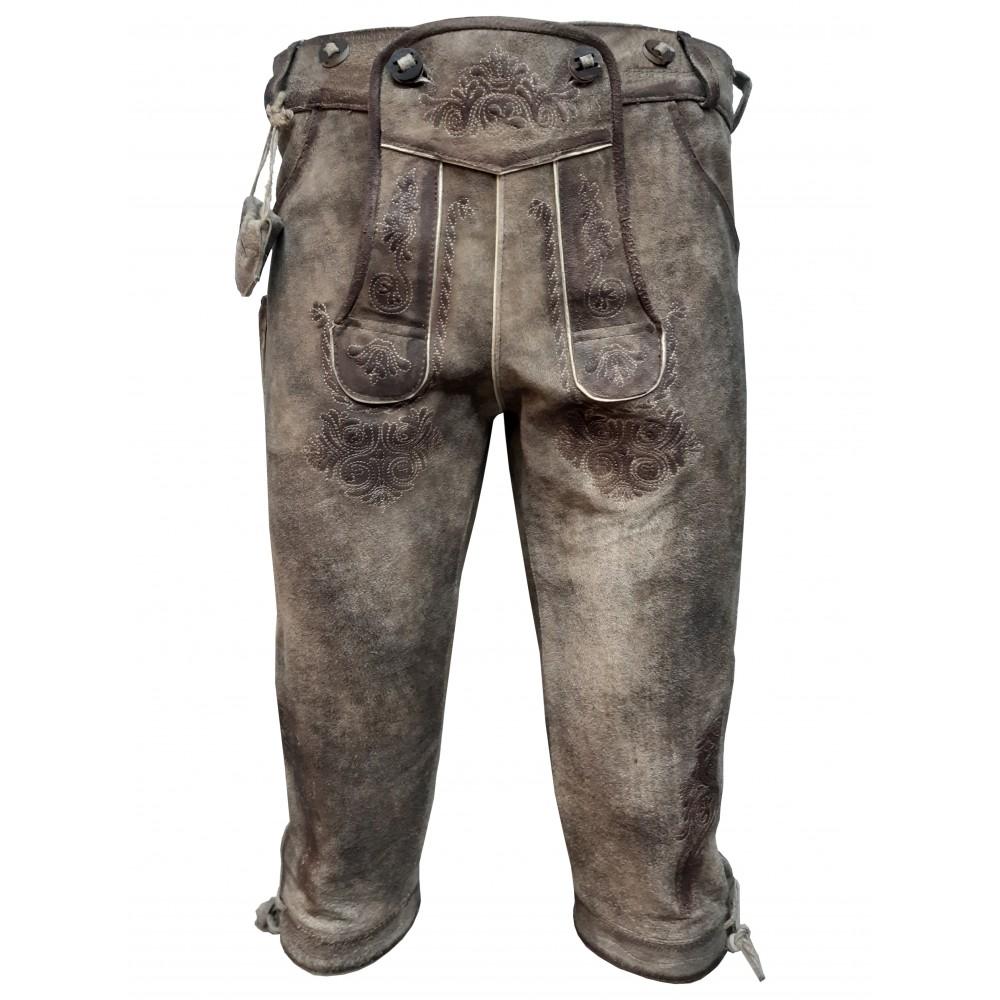 Herren Trachten Lederhose mit Träger, Graubraun, Büffel Leder, Mythos Kniebund