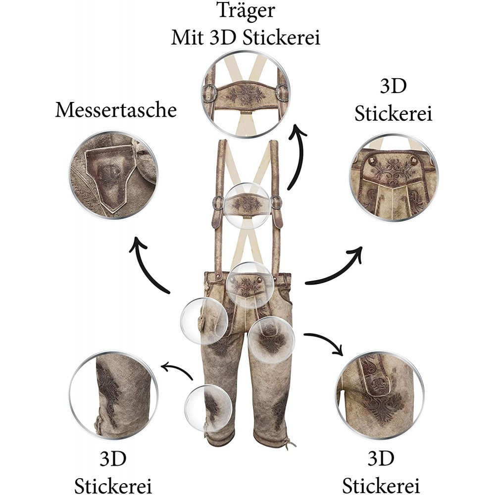 Herren Trachten Lederhose mit Träger, Hellbraun, Büffel Leder, Nostalgie Kniebund