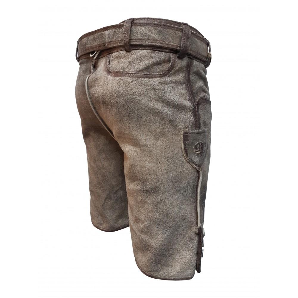 Kurze Herren Trachten Lederhose mit Gürtel, Hellbraun, Büffel Leder, Nostalgie