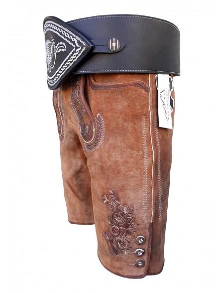 Oldtimer Lederhose + Schwarz Ranzengürtel mit Ziehharmonika-Akkordeon