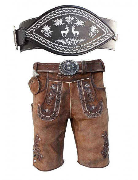 Oldtimer Lederhose + Schwarz Ranzengürtel mit Edelweiß Gams