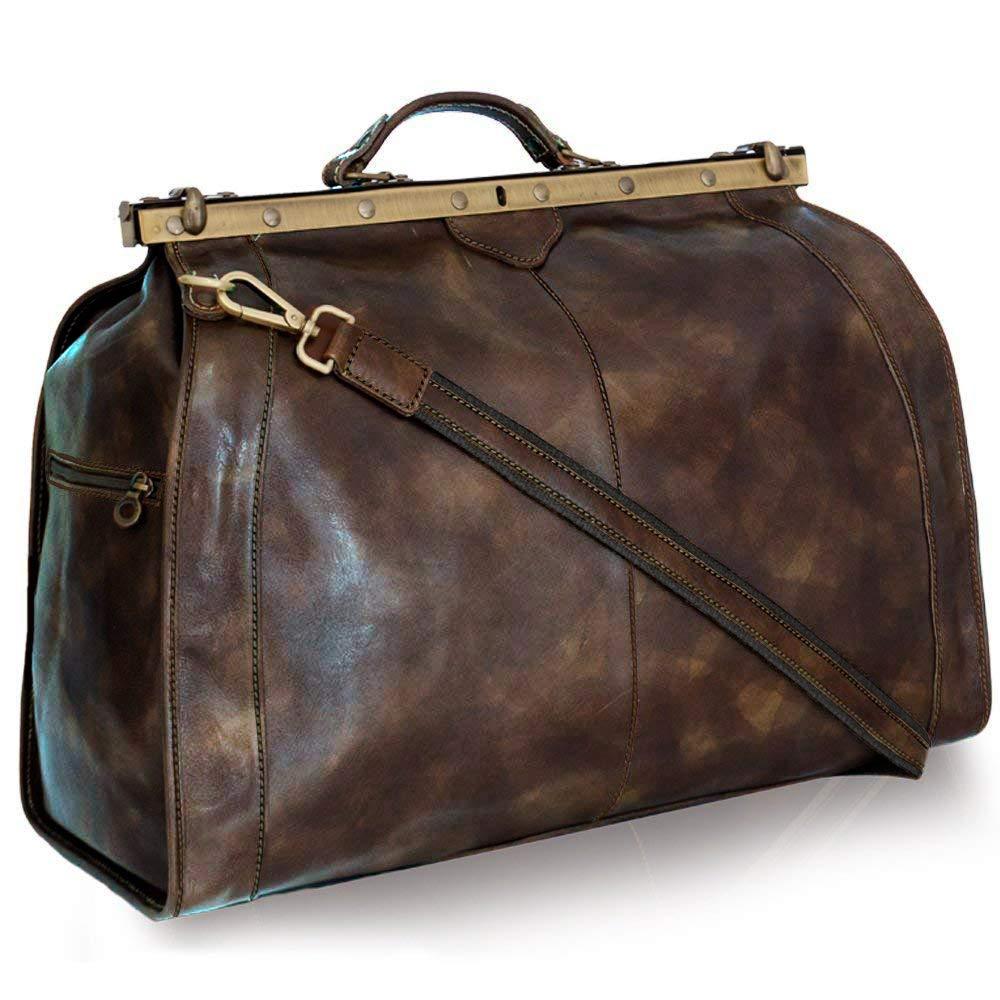 Vintage Italienische Leder Reisetasche Antik Altbraun (XL)