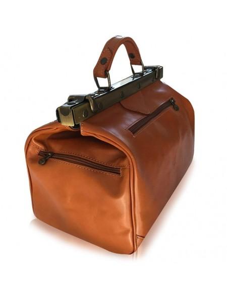 Vintage Italienische Leder Reisetasche Cognac (M)
