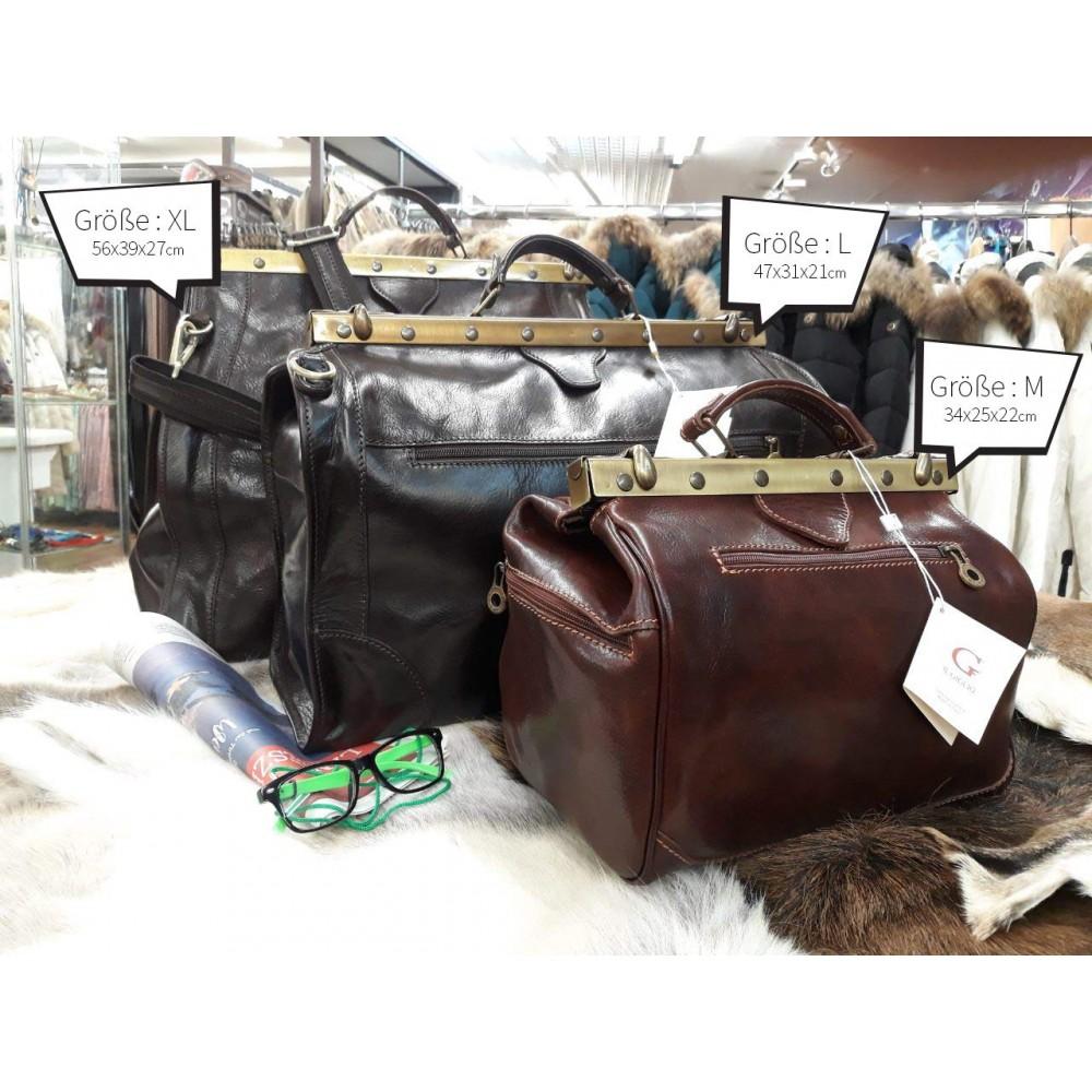 Vintage Italienische Leder Doktortasche Marrone (M)