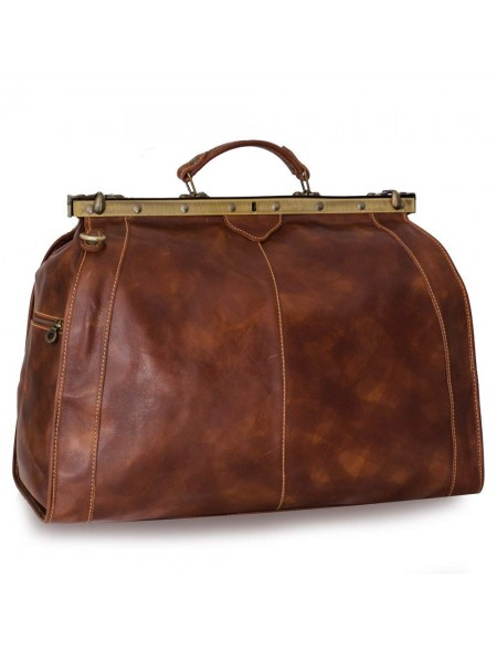 Vintage Italienische Leder Reisetasche Marrone (XL)