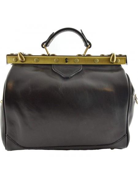 Vintage Italienische Leder Reisetasche Schwarz (M)
